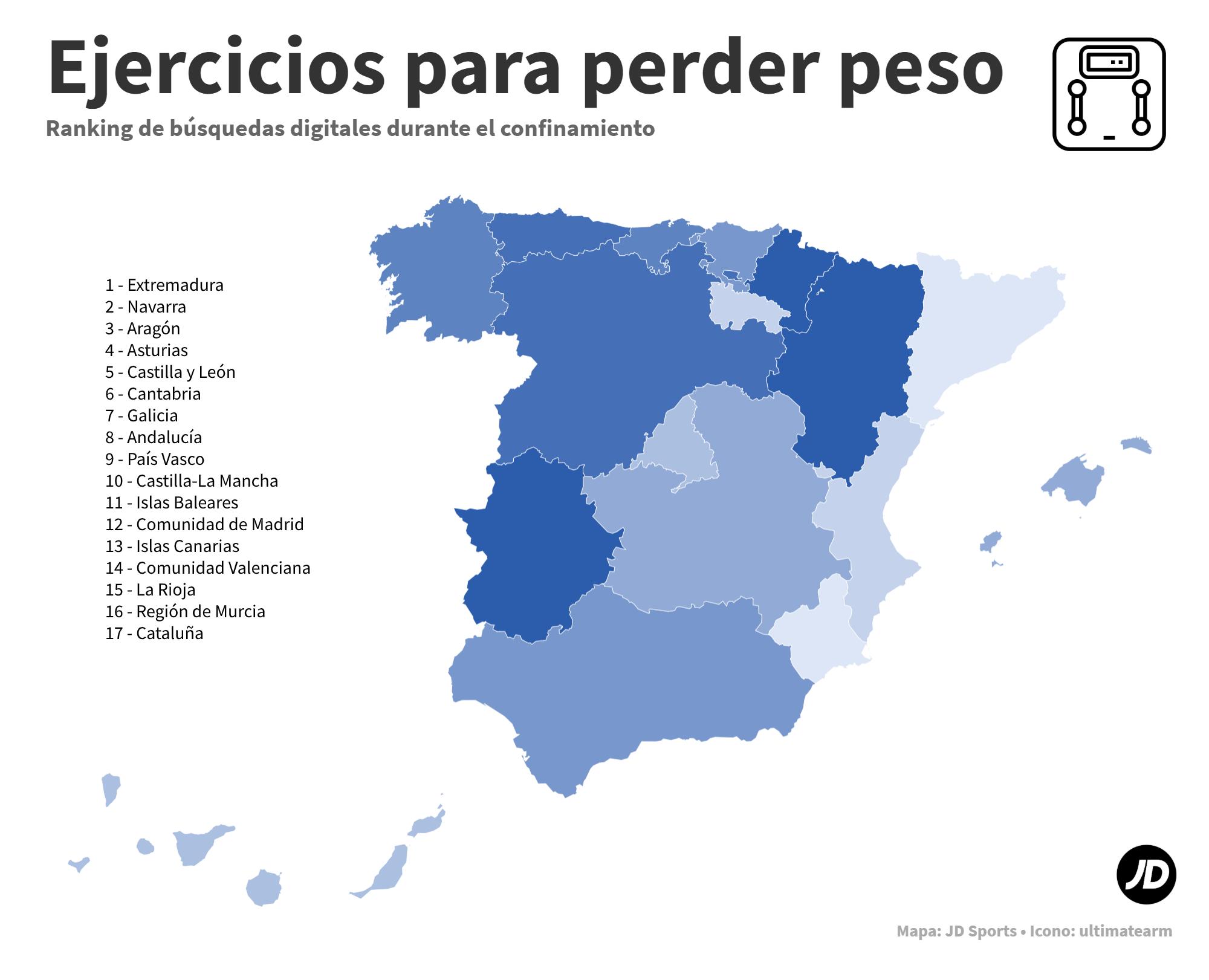 Mapa de España con las comunidades autónomas más interesadas en perder peso durante el confinamiento