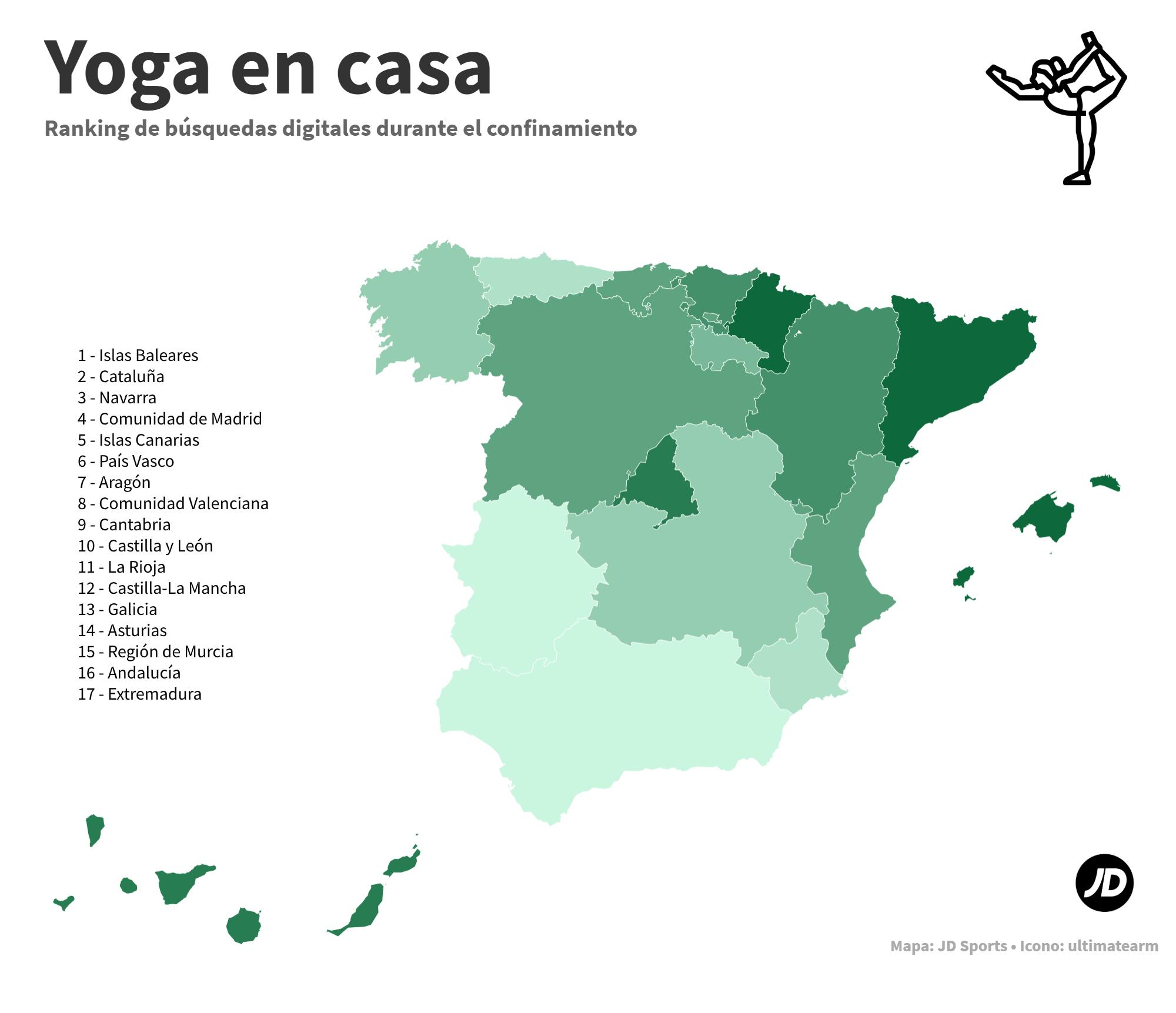 Mapa de España con las comunidades autónomas más interesadas en yoga durante el confinamiento