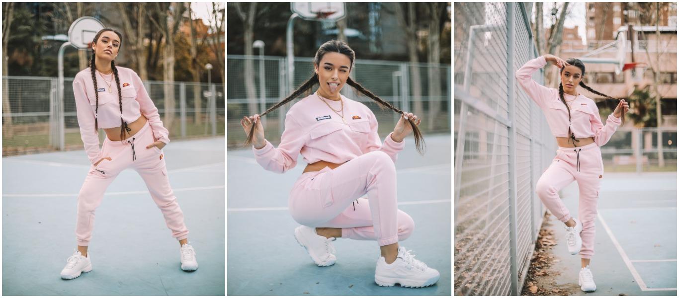 tríptico de la influencer marta diaz vistiendo un cojunto de ellesse de color rosa
