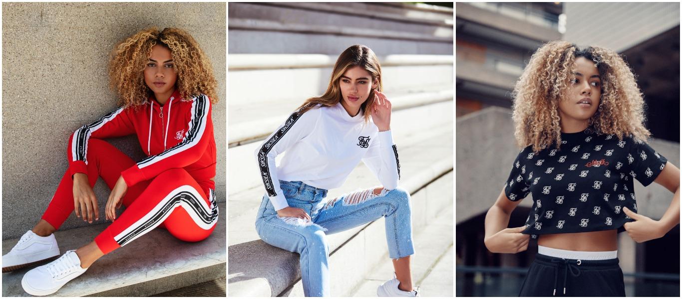 diferentes estilos de camisetas y chaquetas de Siksilk mujer