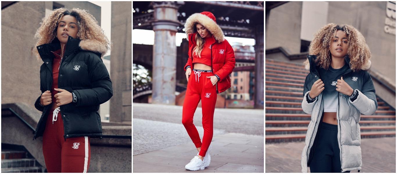 abrigo negro, rojo y azul de siksilk para mujer