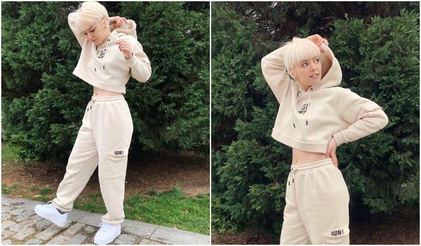 tríptico del outfit de la cantante alba reche, vistiendo un chándal de Supply & demand